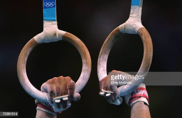 A general view of a competitors hands as he prepares to compete in the men's artistic gymnastics ring finals on August 22 2004 during the Athens 2004...