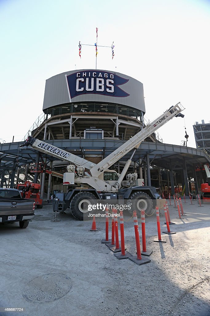 A general view of a construction area at the bleacher entrance at Sheefield and Waveland avenues at Wrigley Field before the Opening Night game...