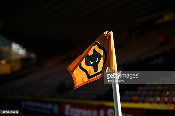 A general view of a corner flag ahead of the Sky Bet Championship match between Wolverhampton Wanderers and Watford at Molineux on March 7 2015 in...