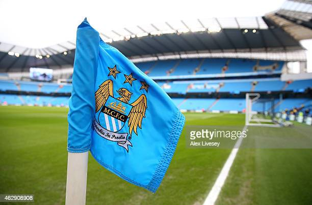 General View of a corner flag and the stadium prior to the Barclays Premier League match between Manchester City and Hull City at the Etihad Stadium...