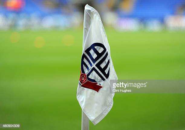 A general view of a corner flag at the Reebok Stadium during the FA CupThird Round match between Bolton Wanderers and Blackpool at the Reebok Stadium...