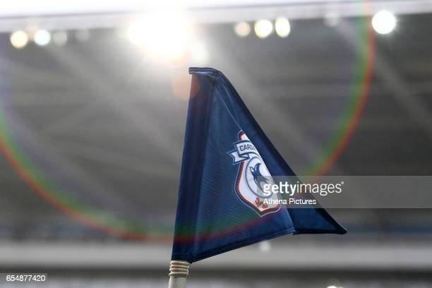 A general view of a corner flag customised with the Cardiff City emblem with a floodlight shining down onto it creating a lens flare during the Sky...