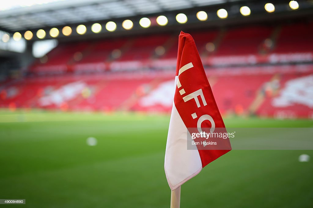 A general view of a corner flag prior to during the Barclays Premier League match between Liverpool and Aston Villa at Anfield on September 26 2015...