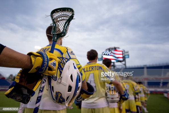 A general view of a crosse and helmet as the Florida Launch line up on the field during the National Anthem before the game against the Charlotte...