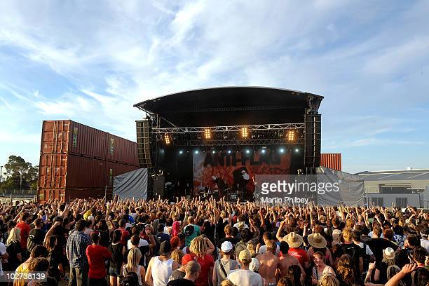 A general view of a crowd watching at a small outdoor festival stage as Antiflag perform at the Soundwave Festival at the Royal Melbourne Show...