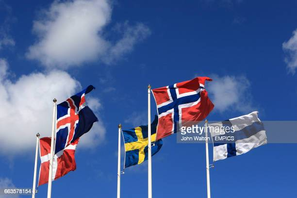 General view of a Danish Icelandic Swedish Norweigen and Finnish flag flying on a flag pole