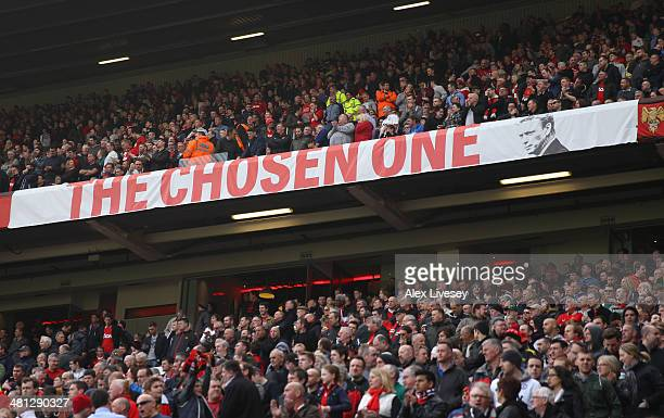 General View of a David Moyes banner during the Barclays Premier League match between Manchester United and Aston Villa at Old Trafford on March 29...