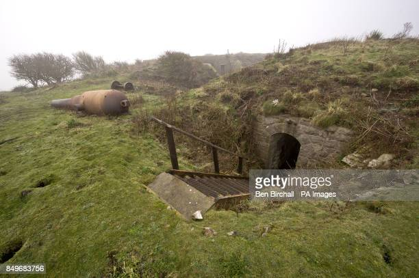 A general view of a derelict Victorian fortifications on Flat Holm island in the Bristol Channel Flat Holm is a limestone island in the Bristol...