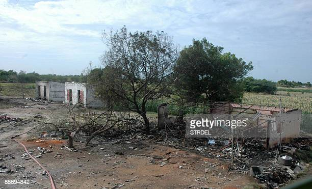 A general view of a destroyed fireworks factory in Madurai some 500 kilometres from Chennai on July 8 2009 Indian police were investigating a fire in...