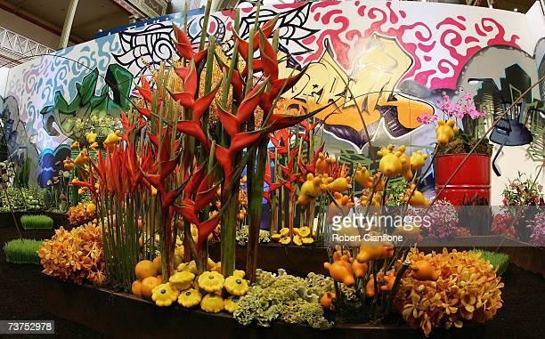 A general view of a display during the Melbourne International Flower and Garden Show at the Royal Exhibition Buidling and Carlton Gardens on March...