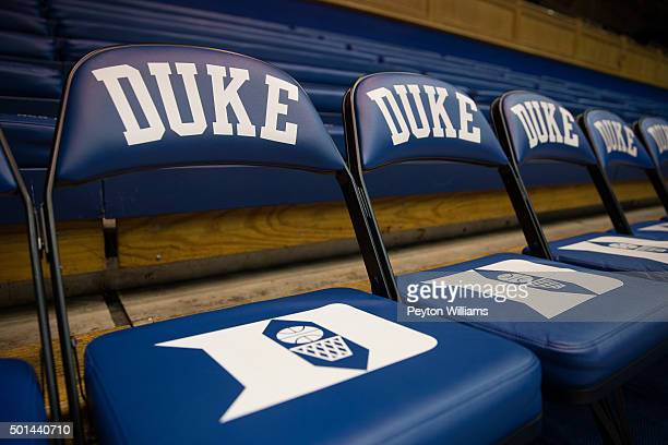 A general view of a Duke Blue Devils bench seat and logo during a game against the Buffalo Bulls during a 5982 Duke Blue Devils win on December 05...