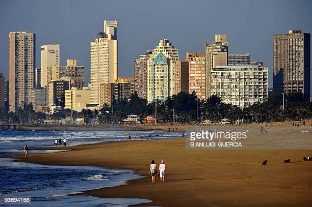 A general view of a Durban beach taken on June 20 2009 in Durban South Africa Durban will host some of the matches of the 2010 Fifa World Cup AFP...