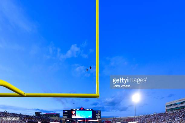 General view of a F16 flyover before the game between the Texas Tech Red Raiders and the Arizona State Sun Devils on September 16 2017 at Jones ATT...