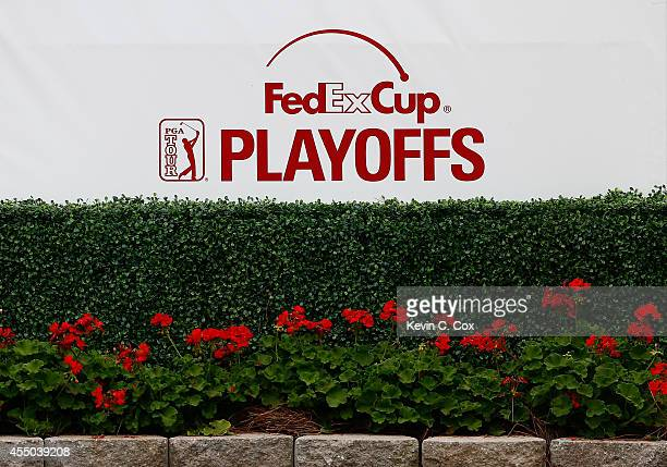 A general view of a FedExCup Playoffs logo during a practice round prior to the start of the TOUR Championship by CocaCola at East Lake Golf Club on...