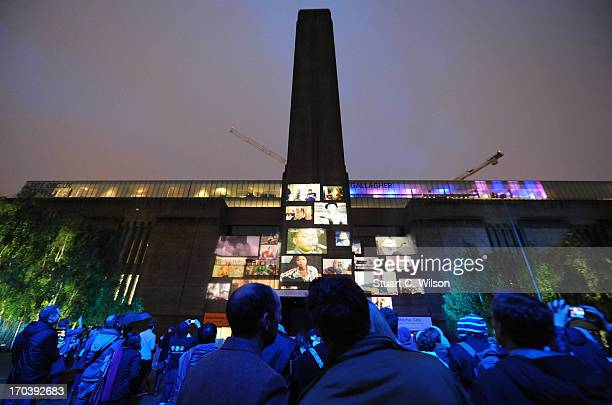 General view of a film projection at agit8 at Tate Modern ONE's campaign ahead of the G8 on June 12 2013 in London England