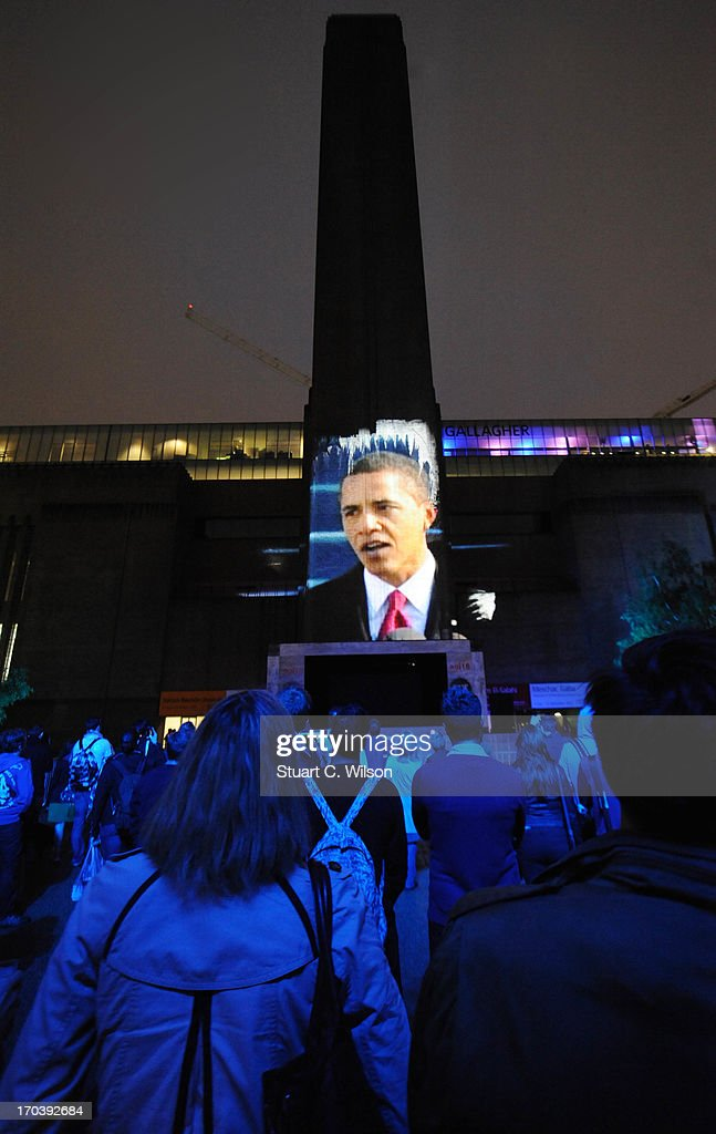 General view of a film projection at agit8 at Tate Modern, ONE's campaign ahead of the G8 on June 12, 2013 in London, England.
