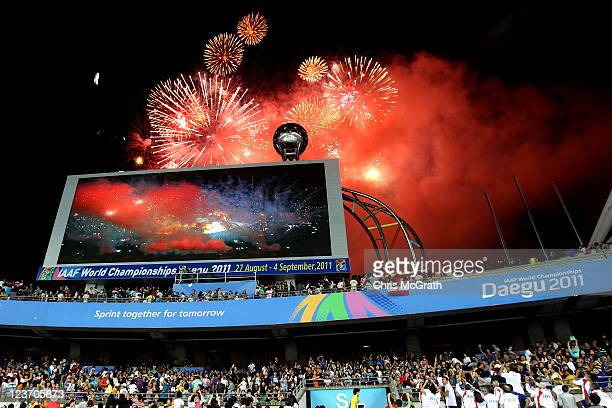 General View of a firework display during the closing ceremony during day nine of 13th IAAF World Athletics Championships at Daegu Stadium on...