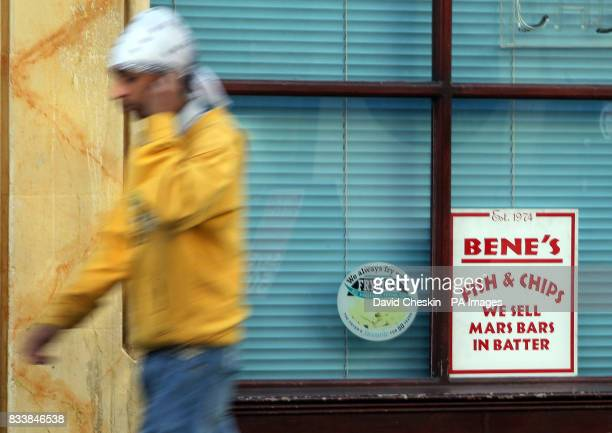 A general view of a Fish and Chip shop in Edinburgh selling Mars bars in batter