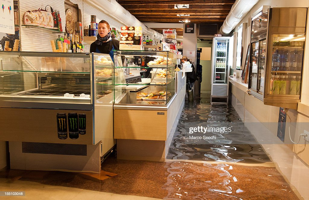 A general view of a flooded bar in the St Mark's Square area on November 1, 2012 in Venice, Italy. More than 59% of Venice has been been left flooded, after the historic town was hit by exceptionally high tides. The sea level rose above 140cm overnight was expected to remain above critical levels for about 15 hours.