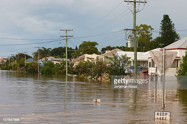 A general view of a flooded city street on January 6 2011 in Rockhampton AustraliaFloodwaters peaked at 92 metres yesterday in the central Queensland...