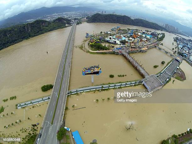 A general view of a floodhit area on August 20 2014 in Lishui Zhejiang province of China A flood caused by torrential rains hit Lishui on Wednesday