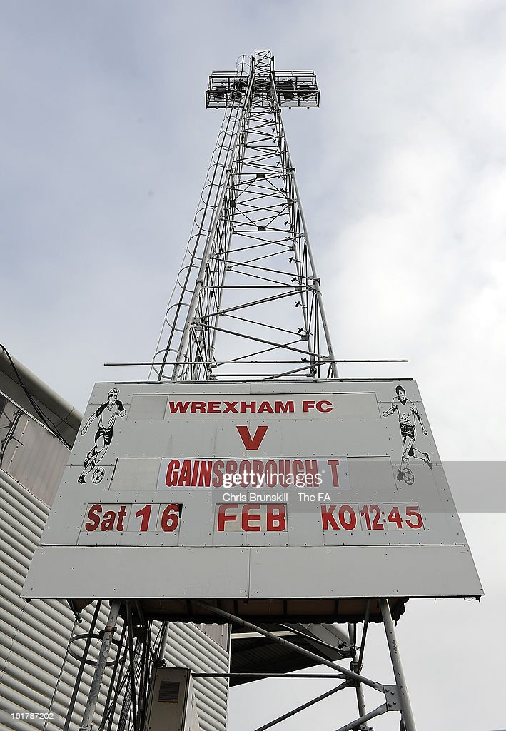A general view of a floodlight ahead of the FA Trophy Semi-Final match between Wrexham and Gainsborough Trinity at the Racecourse Ground on February 16, 2013 in Wrexham, Wales.