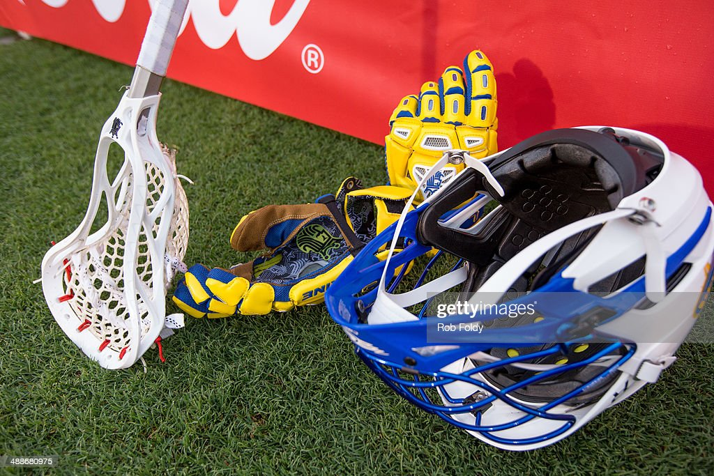 A general view of a Florida Launch crosse and helmet on the field before the game against the Charlotte Hounds at Florida Atlantic University Stadium...