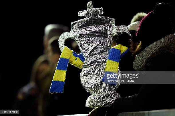 General view of a foil home made FA Cup trophy during The Emirates FA Cup Third Round Replay match between AFC Wimbledon and Sutton United at The...