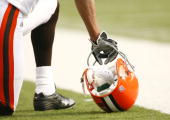 A general view of a football helmet of the Cleveland Browns during a game against the Baltimore Ravens at MT Bank Stadium on December 17 2006 in...
