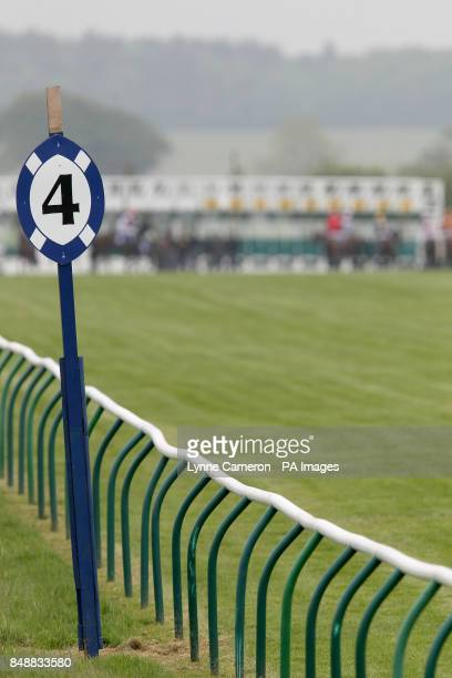 General view of a four furlong sign at Ayr racecourse