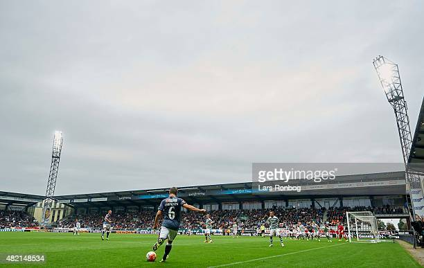 General view of a freekick from Daniel Christensen of AGF Aarhus during the Danish Alka Superliga match between Viborg FF and AGF Aarhus at Energi...