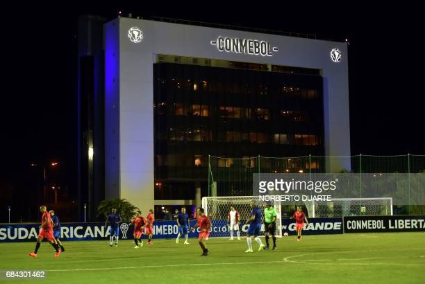 General view of a friendly football match in Luque Paraguay on May 17 2017 in the framework of a meeting at the Conmebol's headquarters in Luque...