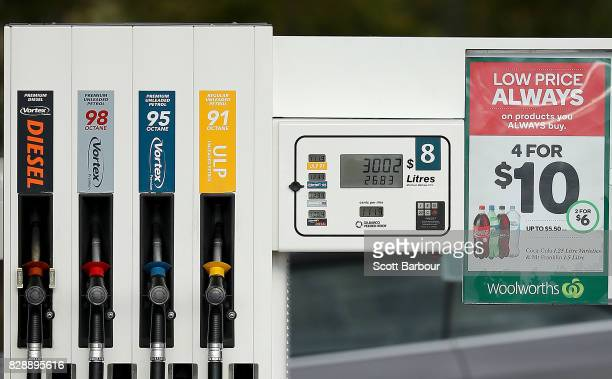 A general view of a fuel dispenser at a Caltex Woolworths petrol station in Geelong on August 10 2017 in Melbourne Australia The Australian...