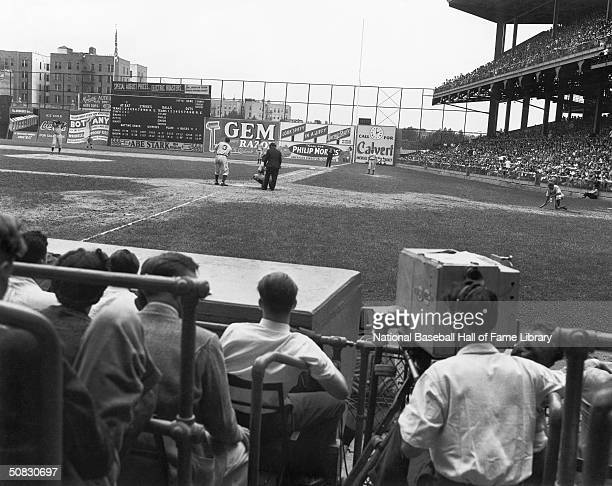 A general view of a game between the Brooklyn Dodgers and Cincinnati Reds during the 1939 season at Ebbets Field in Brooklyn New York Ebbets Field...
