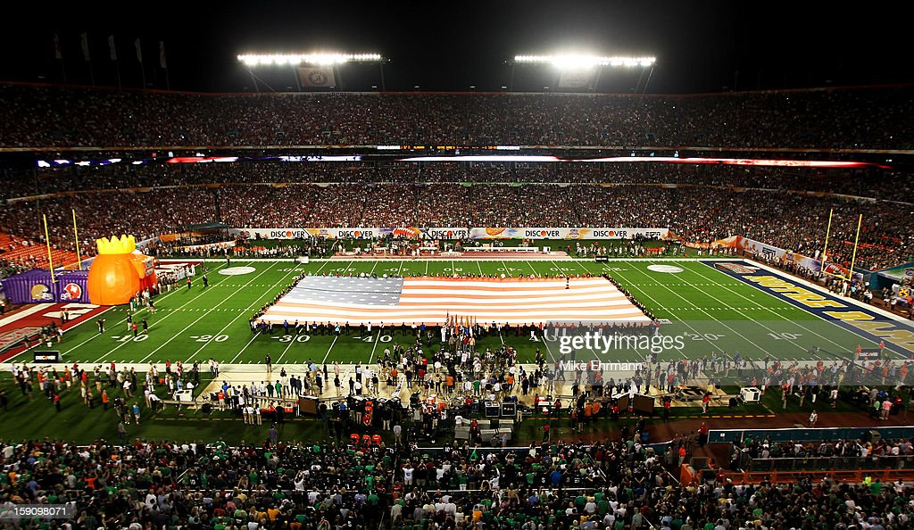 General view of a giant American Flag is displayed prior to the start of the 2013 Discover BCS National Championship game between the Alabama Crimson Tide and the Notre Dame Fighting Irish at Sun Life Stadium on January 7, 2013 in Miami Gardens, Florida.