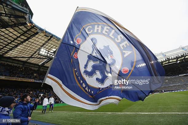 General view of a giant flag inside Stamford Bridge during the Barclays Premier League match between Chelsea and West Ham at Stamford Bridge on March...