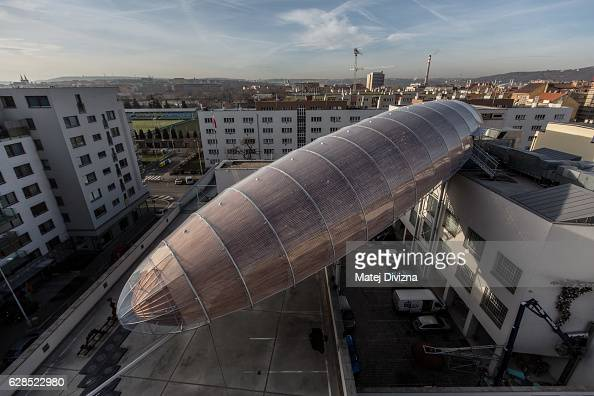 A general view of a giant steel and wood structure looks like a zeppelin named 'The Gulliver airship' during press preview at the DOX Centre for...