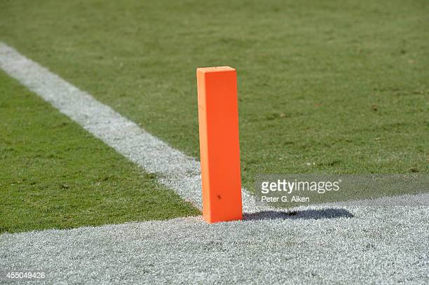 A general view of a goal line marker on the field before a game between the Tennessee Titans and the Kansas City Chiefs on September 7 2014 at...