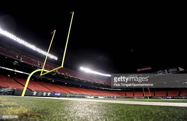 A general view of a goal post at night with the stadium lights on in a empty stadium after a game between the New York Jets and the Denver Broncos on...