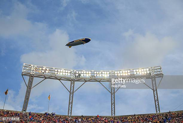 A general view of a Goodyear blimp flying over the stadium lights during the Buffalo Wild Wings Citrus Bowl game between the Florida Gators and the...