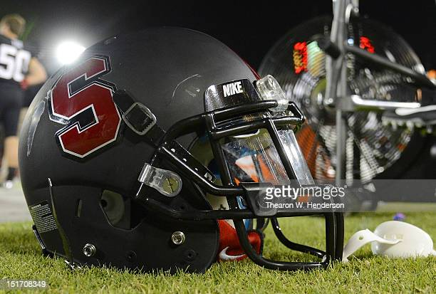 A general view of a helmet belonging to a Stanford Cardinal football player siting on the sidelines against the Duke Blue Devils during the third...