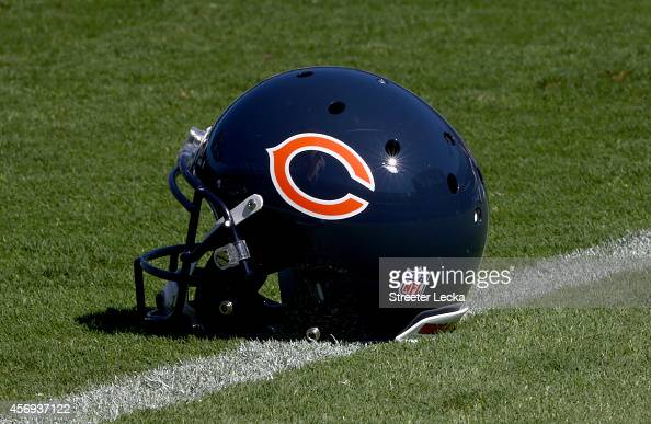 General view of a helmet of the Chicago Bears at Bank of America Stadium on October 5 2014 in Charlotte North Carolina