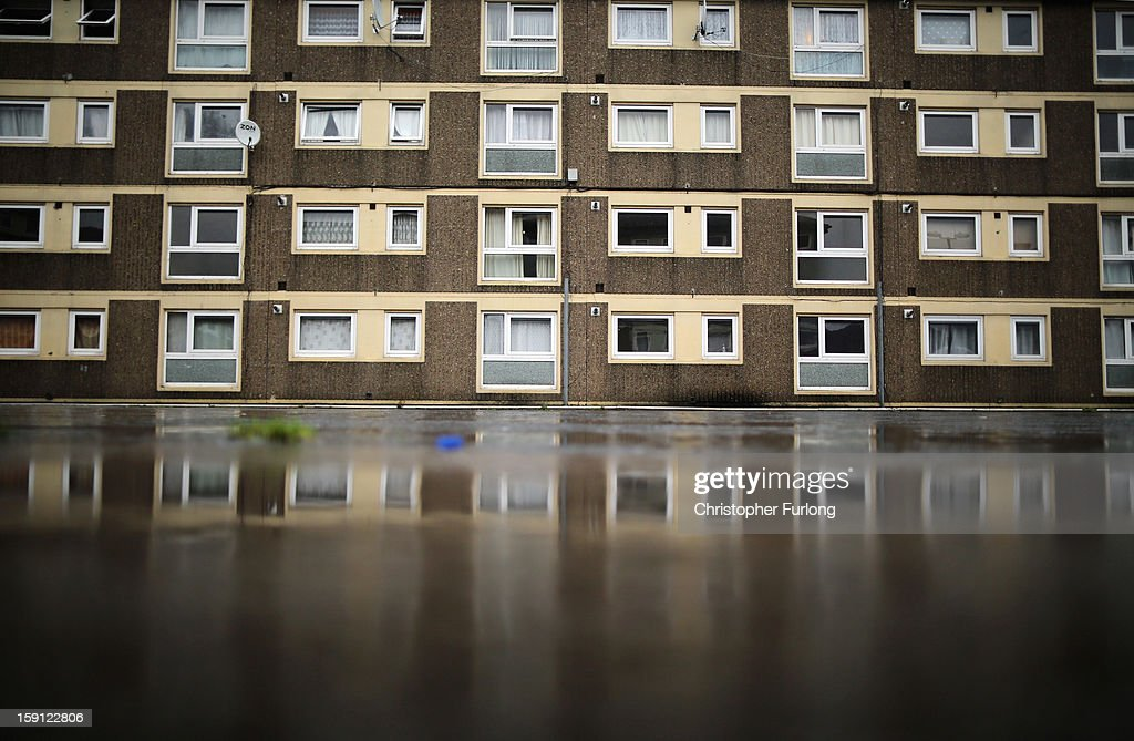 A general view of a homes on the Falinge Estate, which has been surveyed as the most deprived area in England for a fifth year in a row, on January 8, 2013 in Rochdale, England. According to data provided by the Department for Communities and Local Government, 72 per cent of people in the local area are unemployed and seven per cent have never had a job. Four out of five children on the estate are living in poverty, with the area having one of the highest teenage pregnancy rates in the country. During today's House of Commons debate, the government urged MPs to back their planned 1 per cent cap on annual rises in benefits and some tax credits for three years from next April. Benefits for people of working age have historically risen in line with the rate of inflation.