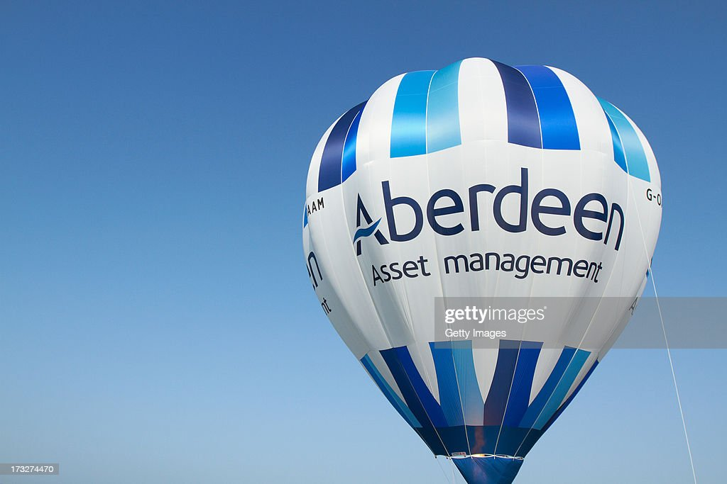 General View of a hot air balloon during the first round of the Aberdeen Asset Management Scottish Open at Castle Stuart Golf Links on July 11, 2013 in Inverness, Scotland.