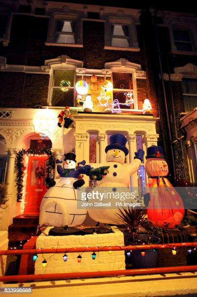 A general view of a house with its Christmas lights shinning brightly in Brownswood Road Finsbury Park north London as the Christmas break approaches