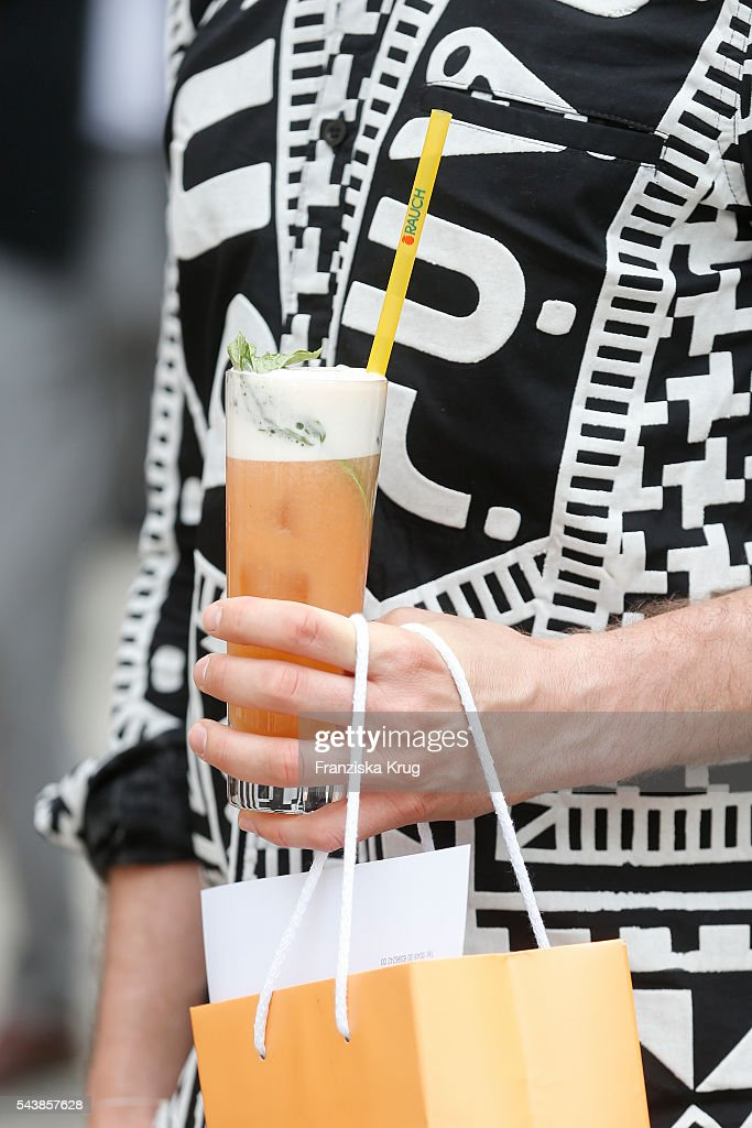 A general view of a juice cocktail at the presentation of the Rauch Happy Day Limited Edition designed by Marina Hoermanseder ahead of the Marina Hoermanseder defilee during the Der Berliner Mode Salon Spring/Summer 2017 at Kronprinzenpalais on June 30, 2016 in Berlin, Germany.