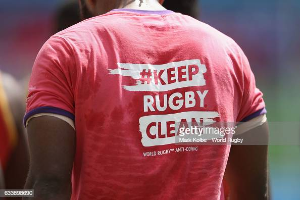 A general view of a '#Keep Rugby Clean tshirt is seen during the 2017 HSBC Sydney Sevens at Allianz Stadium on February 5 2017 in Sydney Australia