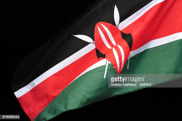 General view of a Kenya flag in the stands