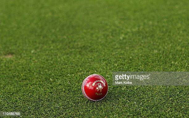A general view of a Kookaburra turf four piece cricket ball is seen before play on day one of the Sheffield Shield final match between the Tasmanian...