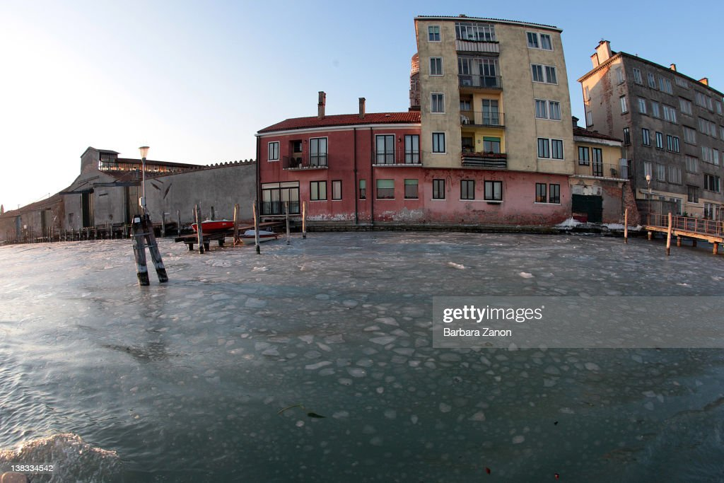 A general view of a lagoon partially frozen on February 6, 2012 in Venice, Italy. Italy as most of Europe is under a spell of very cold weather, it is more than 20 years ago since the Venice Lagoon had last been frozen.